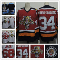 florida panteras jersey jaromir jagr al por mayor-Customized Florida Panthers para hombre # 68 Jaromir Jagr Blanco Retro Azul Hockey # 34 John Vanbiesbrouck Red CCM vintage cosido Jerseys S, 4XL