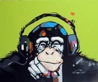 Wholesale Music Paintings Canvas - Framed Monkey Chimp Earphones Music,Genuine Hand Painted Modern Cartoon Animal Pop Art oil Painting On Canvas Museum Quality Multi size J066