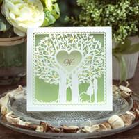 Wholesale Printable Green Wedding Invitations - Wholesale-12pcs lot Green Forest Wedding Invitations Heart Shaped Birthday Party Invitation Card Invites Shiny Pearl Paper Printable JJ575