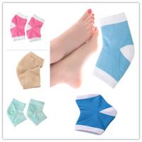 Wholesale Gel Spa Socks - Gel Heel Socks Moisturing Spa Gel Socks 4 Colors Feet Care Cracked Foot Dry Hard Skin Protector Heel Support 2pcs pair