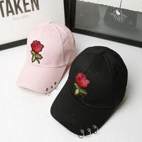 correa negra sombreros de espalda al por mayor-Popular Baseball Hats Rare The Pop Cap Marca Negro Blanco Rose Correa Sombreros Golf Polos Back Cap Hombres Mujeres Ajustable Envío Gratis