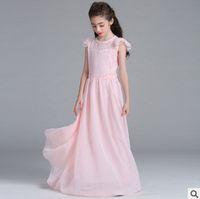 Wholesale Wholesale Chiffon Wedding Dress Gowns - Big Girls princess dresses kids lace chiffon double fly sleeve floor-length long dress children's formal wedding birthday party dress R0197