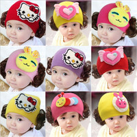 Wholesale Baby Girl Hats Wig - Fashion Winter Warm Ear Wig Baby Cap Children Cartoon Animal Cute Rabbit Monkey Knitted Hat Beanies