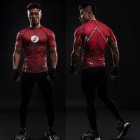 Wholesale Men Raglan Shirts - Compression Shirt Flash 3D Printed T-shirts Men Raglan Short Sleeve Flash Cosplay Costume Quick Dry Fitness Clothing Tops Male