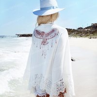 Wholesale Printed Tunic Summer - Summer Cover Ups women summer white Tunic Beach Chiffon Latest Pareo Robe Floral Printed Kaftan Sexy Hawaiian Robe