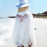 Wholesale Pareo Cover Up - Summer Cover Ups women summer white Tunic Beach Chiffon Latest Pareo Robe Floral Printed Kaftan Sexy Hawaiian Robe