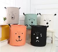 Wholesale Hamper Storage Bag - INS Bag INS Cartoon Bear Laundry Bag Kids Room Storage Bags for Toys Household Foldable Laundry Basket Cloth Hamper 50Pcs
