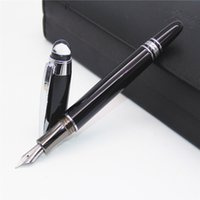 Wholesale Baoer 79 - Wholesale-Baoer 79 Transparent jewelry hat Black Business Medium Nib Fountain Pen Silver Trim New