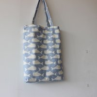 Atacado- Brand New Handmade Cotton Linen Reusable Shopping Bag Carrying Tote Print Whales Light Blue D02