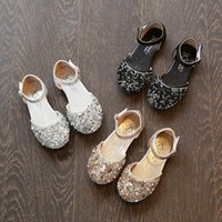 Wholesale Dancing Shoes Gold - Everweekend Sweet Girls Sequins Pu Leather Dance Shoes Gold Silver and Black Color Summer Princess Shoes