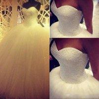 Wholesale Heavy Bridal Satin Wedding Dress - Custom Made Sweetheart Princess Ball Gown Wedding Dresses 2017 Heavy Pearls Floor-length Long Hot Sale Tulle Satin Bridal Wedding Gowns