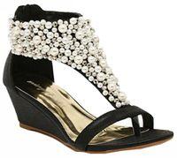 ingrosso scarpe in tallone nero in tallone-Il nuovo strass cerniera perla perline tacchi oro nero zeppe sandali scarpe da donna estate taglia 35-39