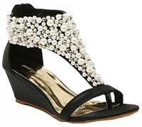 boncuklu topuklu ayakkabılar toptan satış-Yeni Rhinestone fermuar inci boncuklu yüksek topuklu altın siyah takozlar sandalet kadın ayakkabı yaz boyutu 35-39