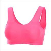 Wholesale Silk Bras Wholesale - Women Bras Ice Silk Seamless Push Up Bra No Rims Bras Ladies Traceless Comfy Sporting Tops Vest Fitness Bra