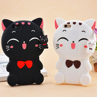 Wholesale 3d animals phone covers - 3D Cute Cartoon Ripndipp Kitty Silcone Cat phone Case For iPhone 6s plus Lovely Animals Pocket Kitten Cover for iPhone 7 8 plus