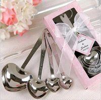 favores de la boda cuchara forma de corazón al por mayor-Wedding Love Favores de la boda de cuchara de medición de acero inoxidable en forma de corazón simplemente elegante 4pcs / set Caja de regalo