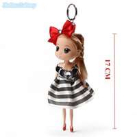 Wholesale Girls Chain Skirts - 10Pcs Lot Mini Cute Puppet Keychain Action Figure Fashion Doll Key Chain Toys Wear Skirt Small Creative Gift Free Shipping