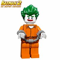 Wholesale Arkham Joker - WholeSale 20pcs BATMAN MOVIE Arkham Asylum Joker SUPER HEROES Model Minifigures Assemble Model DIY Building Blocks Kids Toys