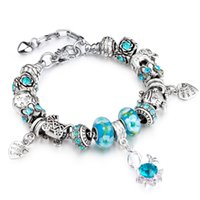 Wholesale Woman S Heart Link Chain - AA47 Christmas Gift Heart Start Sweet Mother Charms 925 Crystal Beads Mother`s Pandent European Style Bracelets for women Jewelry