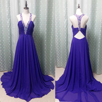 Wholesale Cut Out Back Evening Gowns - Elegant 2017 Purple Chiffon V Neck Crystal Beaded Collar Dresses Evening Wear Sexy Cut Out Back Pleats Long Formal Evening Gowns EF70817