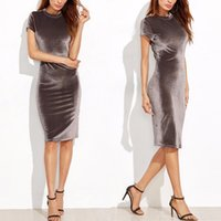Wholesale Sexy Girls Tight Wear - Sexy dress Work Dresses Women's Clothing Girls tight round neck short sleeve dress knee pencil dress 1137