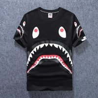 Wholesale Sharks Shirt - Men's Clothing Wear Tide Brand Shark Mouth Printing Men Women Lovers Fund Round Neck Short Sleeve T shirt for Pity t-shirt fashion tshi