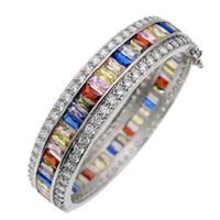 Wholesale Garnet Bracelet Sterling Silver - Bangle Cuff White Topaz 925 Sterling Silver Natural Amethyst Garnet Kunzite Peridot Sapphire Women Bracelets Jewelry