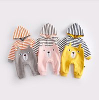 Wholesale Stripe Cotton Baby Romper - INS 3 colors New Arrivals autumn baby kids climbing romper baby kids 100% cotton boy girl cartoon bear Stripe stereo ears long sleeve romper