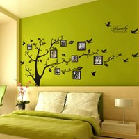 Wholesale Photo Adhesive Decal - Large Size Black Family Photo Frames Tree Wall Stickers DIY Home Decoration Wall Decals Modern Art Murals for Living Room