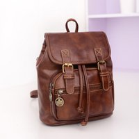 Wholesale Ladies Leisure Backpacks Brown - The new spring and summer of 2017 female bag retro backpack pu leisure fashion female bag