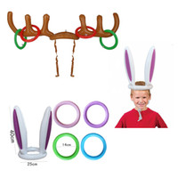 Wholesale Holiday Christmas Party Games - 2017 New Inflatable Reindeer&Bunny Ear Antler Ring Hats Toss Holiday Party Game Supply Toys Christmas Gifts for Children Kids