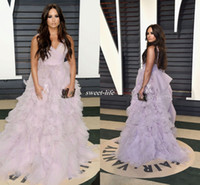 Wholesale Demi Lovato Red Carpet Dresses - Elegant Demi Lovato Ruffled Lavender Tulle Prom Gowns Vanity Fair Oscar 2017 Celebrity Evening Dresses Ball Gown with Train Spaghetti Straps