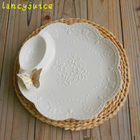 Wholesale Porcelain Sauce Dish - Emboss butterfly white ceramic dumpling plate with sauce boat porcelain cake plate ceramic dish dinner plate