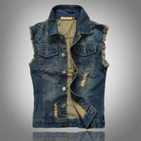 Wholesale vintage cowboy vest - Wholesale- 2016 New Fashion Mens Denim Vest Vintage Sleeveless Washed Jeans Waistcoat Man Cowboy Ripped Jacket Plus Size 6XL Tank Top