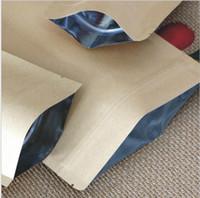 bolsas de regalo de aluminio al por mayor-Papel de regalo Bolsas a prueba de humedad para alimentos Papel Kraft con revestimiento de papel de aluminio Bolsa de pie Bolsa de embalaje Ziplock para hornear galletas