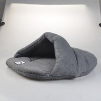 Wholesale dog warming mat - Estrella Warm Sleeping Bag for Pet Grey Soft Bed Dog Bed Cat Bed Warm Pad for Winter