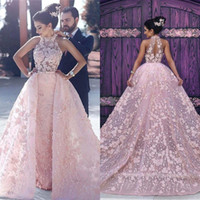 Wholesale Evening Dresses Baby Pink - Baby Pink Gorgeous Sheath Prom Dresses With Overskirts Lace High Neck Sheer 3D Appliques Lace Evening Dress Formal Celebrity Party Gown