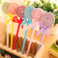 Wholesale cute happy birthday - 24 Pcs Lot Cute Lollipop Ball Pen Souvenirs Birthday Party Baby Shower Gift Happy Birthday Decoration