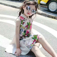 Wholesale Traditional Chinese Red Beads - Girls Chinese Traditional Cheongsam Dress Floral Butterfly Printing Qipao