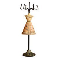 Wholesale Dress Jewelry Stands - Fashion 2pcs lot Princess Dress Jewellery Display Stands Resin Metal Jewelry Rack Earring   Necklace Display Stand Holder