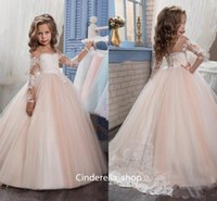 Wholesale Christmas Day Picture Cap - Arabic Vintage 2017 Flower Girls Dresses Long Sleeves Sheer Neck Long Ball Gown Children Wedding Dresses Jewel Lace Birthday Gowns