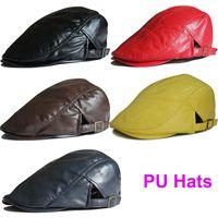 Wholesale Leather Berets - Adjustable DIY Blank Hats PU Leather Visor Cap Men's Berets Fashion Autumn Winter Beret Hats for Men