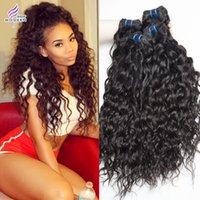 Wholesale Natural Wavy Black Hair - Brazilian Virgin Hair Water Wave 3 Bundles Wet And Wavy Unprocessed Human Hair Extensions Brazilian Loose Curly Hair Weaves Natural Black