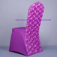 Housses De Dosseret Pas Cher-20pcs Nouveau Rouge Rose Satin Et spandex Rosette Retour chaise couverture spandex blanc Dining Renovation Chair Covers For Wedding