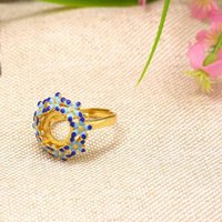 925 Silver Art Nouveau Cloisonne Enamel 10x10mm Round Cabochon Semi Mount Ring Art Deco Retro