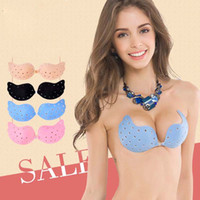 Wholesale Invisible Bra Paste - Hot Sale Women Strapless Invisible Bra Thin Bra Super Sticky Mango Type Perforated Chest Paste Super-Gather Front Buckle Bra A B C D