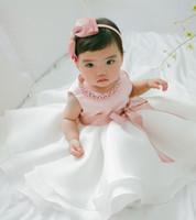 vaftizci elbisesi gelinlik toptan satış-Bebek Kız Çiçek Bayramı Bayramı Prenses Bowknot Komünyon Partisi Elbise Vaftizci Vaftizci Önlük Kostümlü Resmi Elbise yılbaşı tutuş