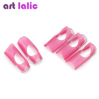 Wholesale Nail Protector Clips - Wholesale- PINK Nail Protector Clip nail form tool UV Gel Reusable Form Builder BOX Nail Care Manicure Finger Cover Polish