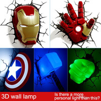 Wholesale Avengers Party - Marvel avengers LED bedside bedroom living room 3D creative wall lamp decorated with light night light