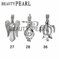 Wholesale Penguin Lamp - 10 Pieces Wholesale Love Pearl Pendant and Cage Mixed Bird Lamp Penguin Wish Locket Cages Jewelry